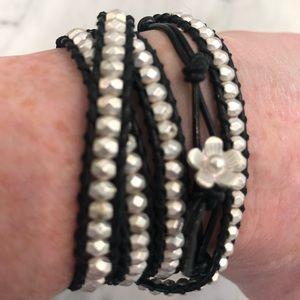Jewelry - Cool Silver Iridescent Beaded Wrap Bracelet!